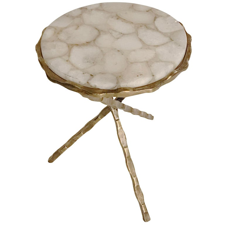 Sliced White Agate Top Cocktail Table, Belgium, Contemporary For Sale