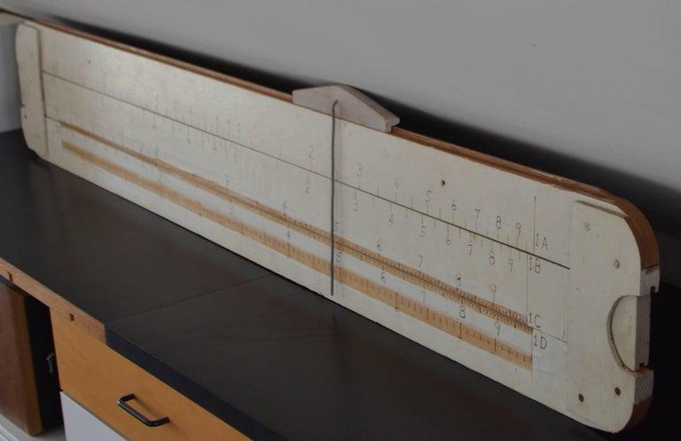 Mid-Century Modern Slide Rule Handmade Oversize for Teacher Classroom Demonstration For Sale