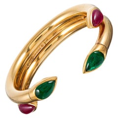 Sliding Bangle with Ruby and Emerald Pear Cabochons, Signed Hemmerle