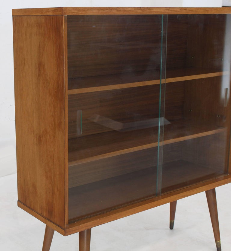 Sliding Glass Doors Mid-Century Modern Bookcase Cabinet
