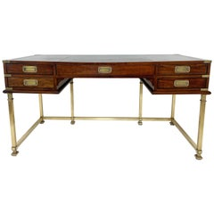 Sligh Furniture Campaign Desk in Brass and Mahogany with Leather Top