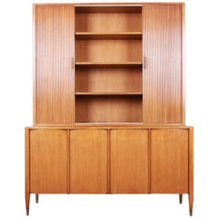 Sligh Mid-Century Modern Walnut Sideboard Credenza with Bookcase Hutch, 1950s
