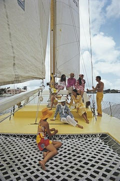 A Colorful Crew - Slim Aarons, Yachts, Fashion photography, Yellow, Vacation