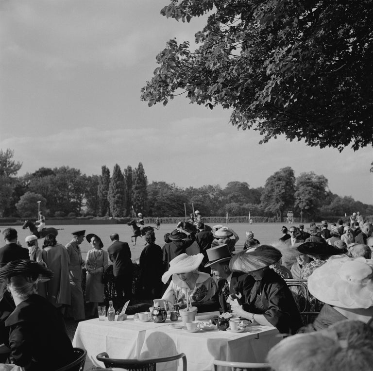 Slim Aarons Landscape Photograph - French Polo Crowd (1950) - Limited Estate Stamped - Silver Gelatin Fibre Print