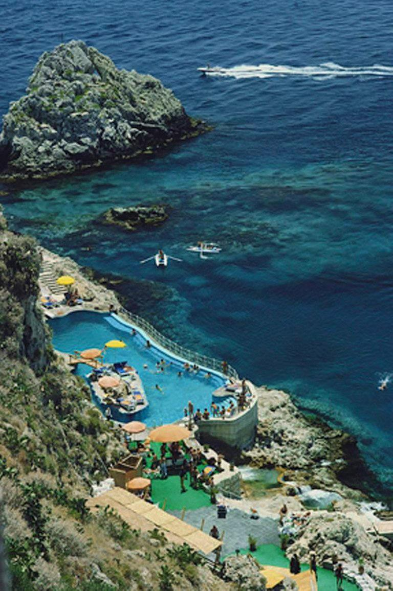 Slim aarons hotel taormina pool sicily for sale at 1stdibs - Hotels in catania with swimming pool ...