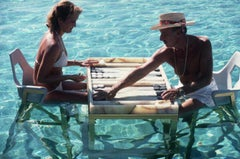 Keep Your Cool - Slim Aarons, 20th Century, Portrait, Water, Games, Backgammon