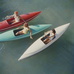 Lake Tahoe Trip, Estate Edition Photograph, Red, Green, White Canoes Zephyr Cove
