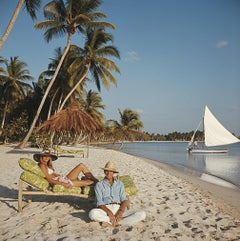 Minnie and Dru Montagu - Slim Aarons, 20th century, Yachts, Beach, Island