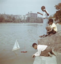Model Boat Sailing in Central Park NYC, Estate Edition Photograph, Children Play