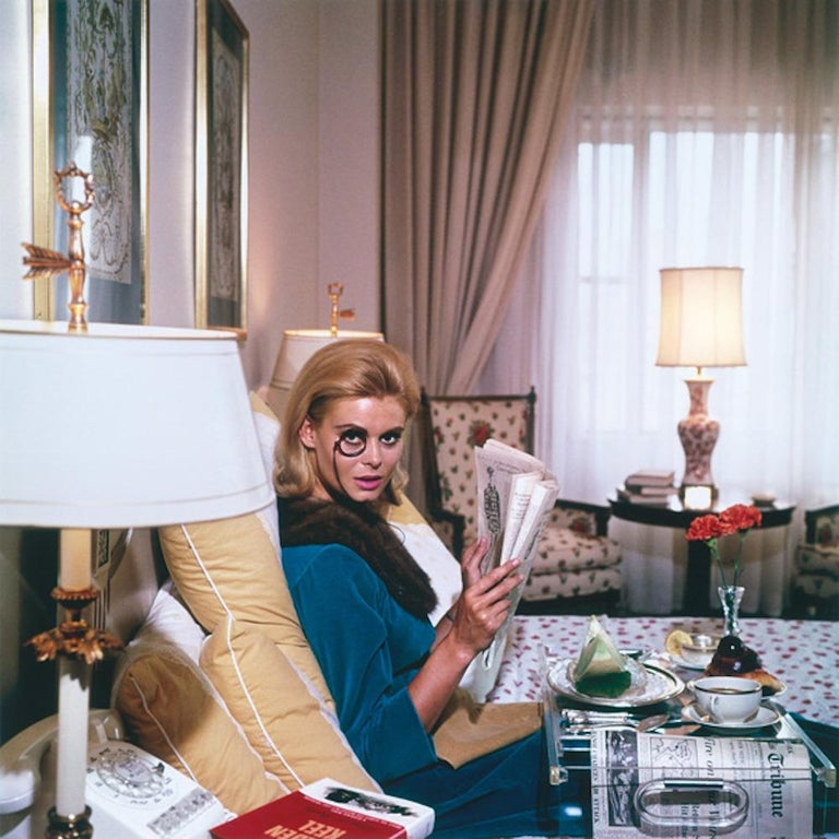Monocled Miss - Slim Aarons, 20th Century, Model, Lifestyle, New York, Breakfast - Photograph by Slim Aarons