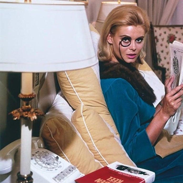 Monocled Miss - Slim Aarons, 20th Century, Model, Lifestyle, New York, Breakfast - American Modern Photograph by Slim Aarons