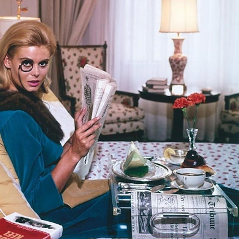 Monocled Miss - Slim Aarons, 20th Century, Model, Lifestyle, New York, Breakfast - Gray Portrait Photograph by Slim Aarons