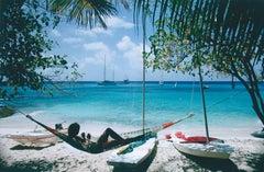 Mustique Hammock - Slim Aarons, 20th Century, Tropical, Island, Palm trees, Sea
