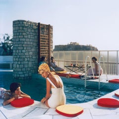 Penthouse Pool (Photographic Print, 20th Century, Rooftop Pool, Yellow Flowers)