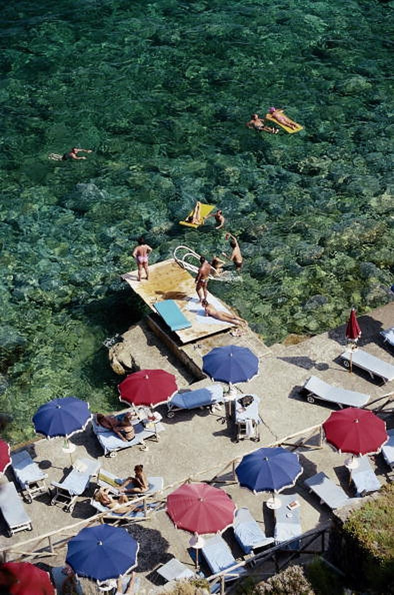 Porto Ercole Beach - Slim Aarons, 20th century, Italy, Tuscany, Sunbathers, Sea