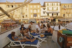 Saint Tropez, 1971 - Slim Aarons, 20th Century, French Riviera, Parasols, Sunset
