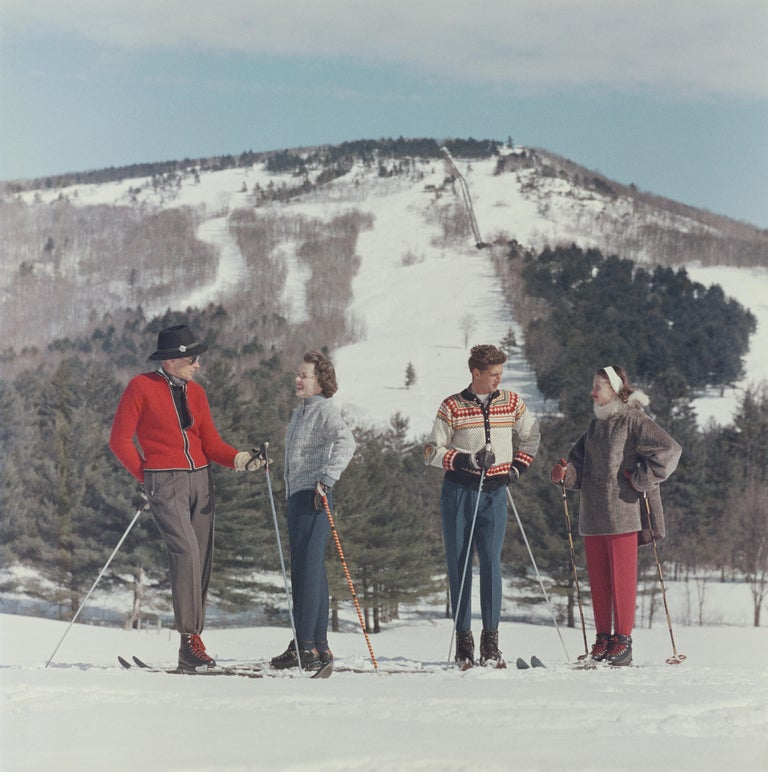 Skiers at the Cranmore Mountain Resort, North Conway, New Hampshire, USA, circa 1955.   Once a year, we uncover never-before-seen Slim Aarons images! This is one of fifteen from our new collection. A word from our Curator Shawn Waldron:  'For the