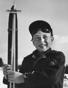 Slim Aarons Estate Print - Junior Skier 1955 New England Skiing - Oversize