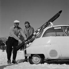 Slim Aarons Estate Print - New England Skiing Essentials 1955