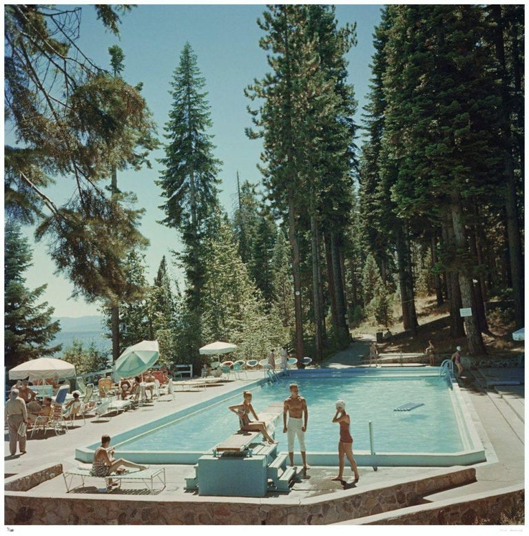 Slim Aarons Estate Print - Pool At Lake Tahoe - Oversize C print  - Modern Photograph by Slim Aarons