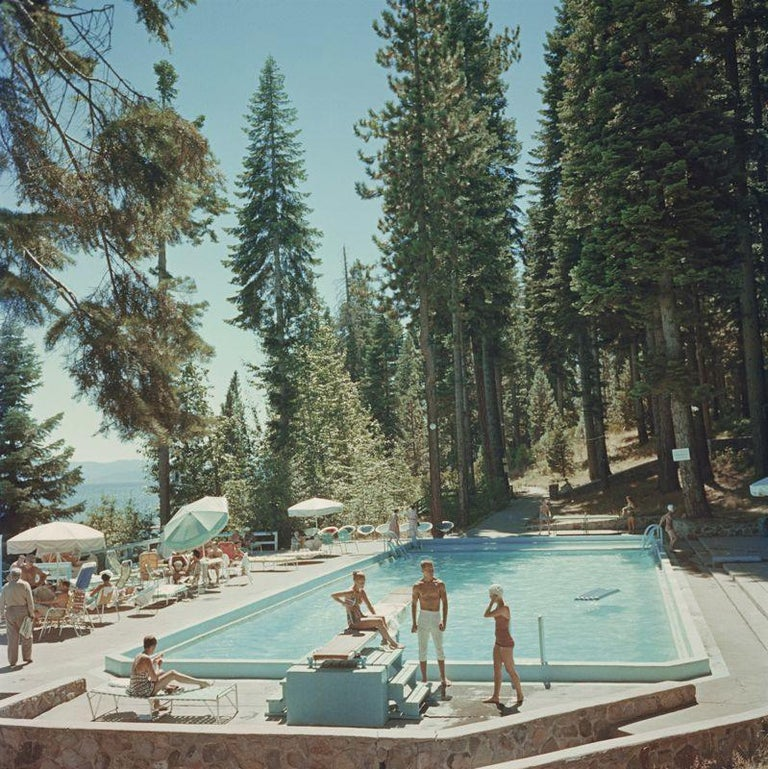 Slim Aarons Estate Print - Pool At Lake Tahoe - Oversize C print  - Photograph by Slim Aarons