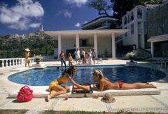 Slim Aarons Estate Print - Poolside Backgammon 1972