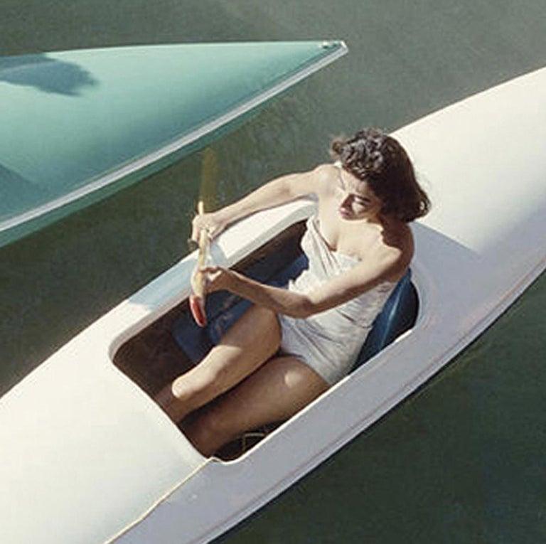 Slim Aarons 'Lake Tahoe Trip' (Canoes, Zephyr Cove, Slim Aarons Estate Edition) - Gray Landscape Photograph by Slim Aarons