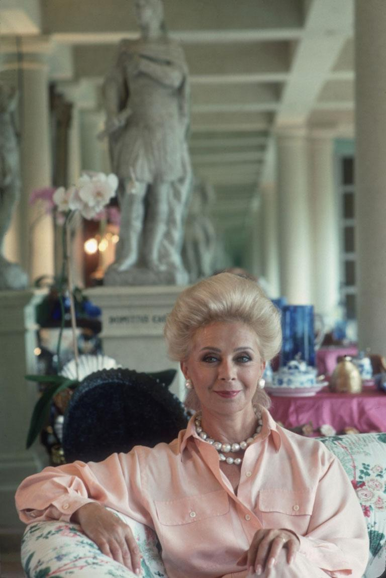 Lily Safra, 1991 Chromogenic Lambda Print Estate edition of 150  July 1991: Lily Safra, wife of Lebanese born banker Edmond Safra, at home in La Leopolda, Southern France.   Estate stamped and hand numbered edition of 150 with certificate of