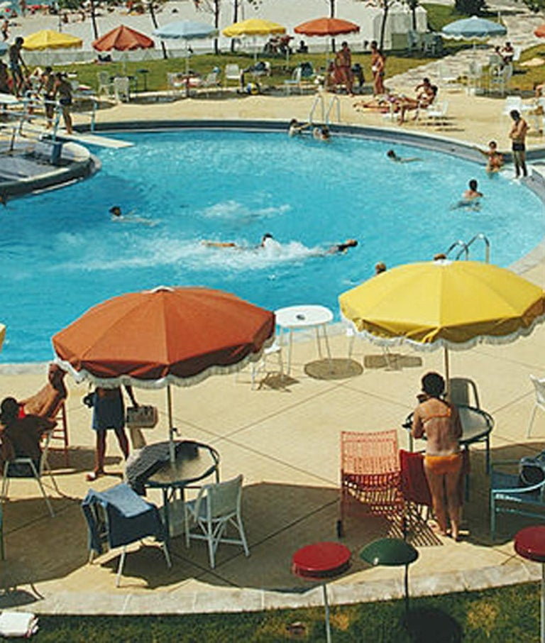 Slim Aarons 'Monte Carlo Beach Club' (Slim Aarons Estate Edition) - Gray Color Photograph by Slim Aarons