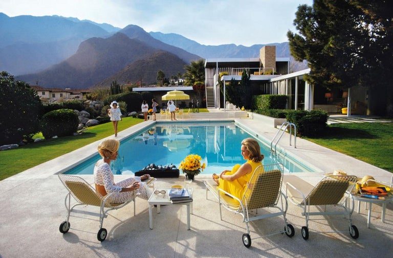 Slim Aarons Poolside Glamour Estate Stamped Print - Photograph by Slim Aarons