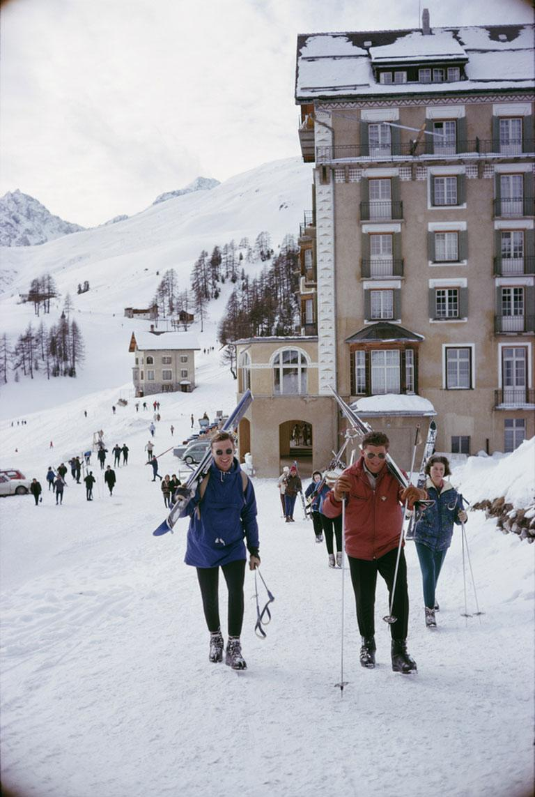 Skiers In St. Moritz II, 1963 Chromogenic Lambda Print Estate edition of 150  Skiers in St Moritz, Switzerland, March 1963.  Estate stamped and hand numbered edition of 150 with certificate of authenticity from the estate.   Slim Aarons (1916-2006)
