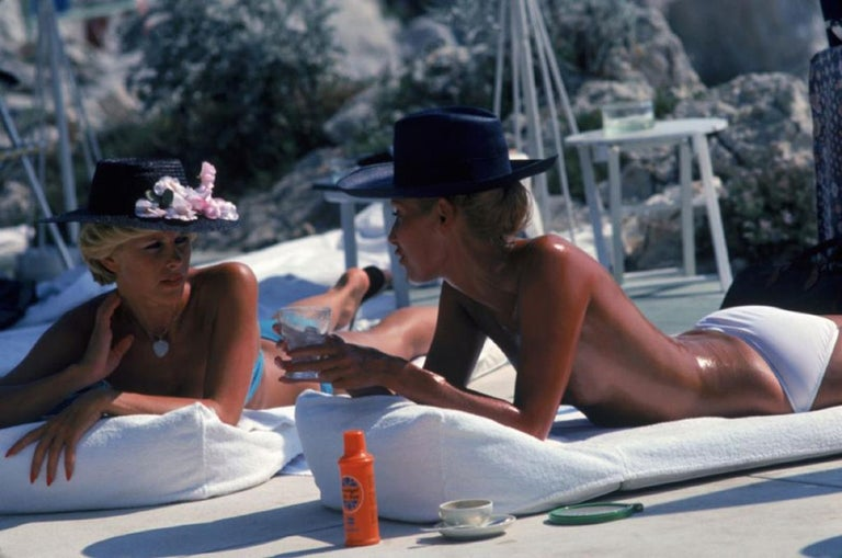'Sunbathing In Antibes'  Slim Aarons Estate Edition - Photograph by Slim Aarons