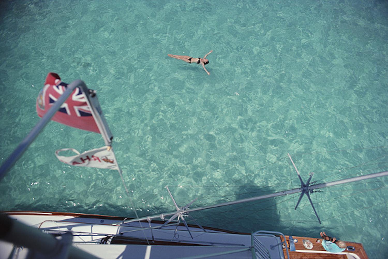 Swimming in Bermuda, 1977 - Slim Aarons, 20th Century, Yachts, Ocean imagery