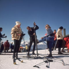 """Verbier Skiers"" By Slim Aarons, Estate Stamped & Limited, 20x24"" Framed"