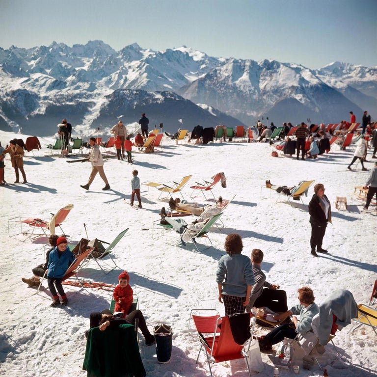 Slim Aarons Landscape Photograph - Verbier Vacation Estate Edition Photograph [Swiss Alps, Ski, Red, Blue, Green]