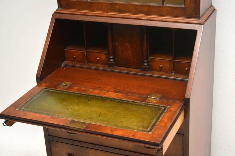 Slim Antique Mahogany Bureau Bookcase In Good Condition For Sale In London, GB