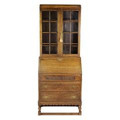 Slim English Oak Bureau Bookcase, circa 1920s
