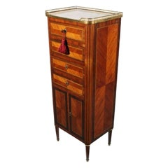 Slim French Kingwood Marble Top Cabinet, 19th Century