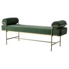 Slim Lines Velvet Bench in Satin Gold Finish