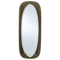 Slim Mirror with Bowed Colored Glass Frame, Italy, 1960s