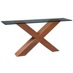 Slim Modernist Corten Steel Console Table, France, 1970s
