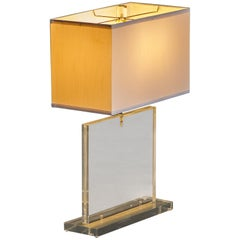Slim Profile Modern Lucite Table Lamp by Primo, circa 1970s, Signed