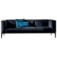 Slim Blue Velvet Sofa, Designed by Matthias Demacker, Made in Italy