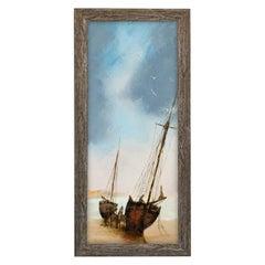 Slimline Maritime Beach Scene, Oil Painting, Ships, Art, Original