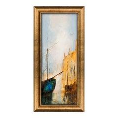 Slimline Maritime Portrait, Oil Painting, Ship, River, Art Original
