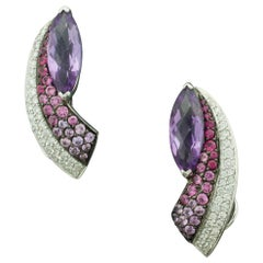 Slimming Amethyst Pink Sapphire and Diamond Earrings in 18 Karat