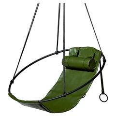 Sling Cactus Vegan Leather Hanging Swing Seat, Green