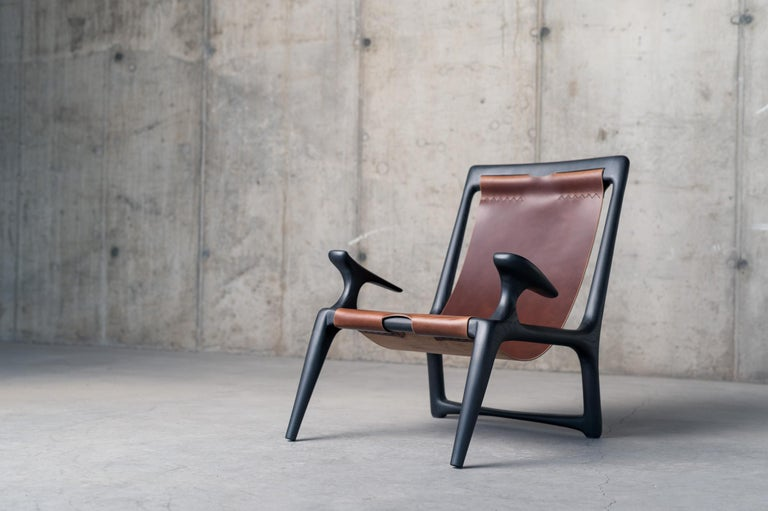 Handcrafted Armchair in Charcoal Ashwood, Designed by Fernweh Woodworking For Sale 2
