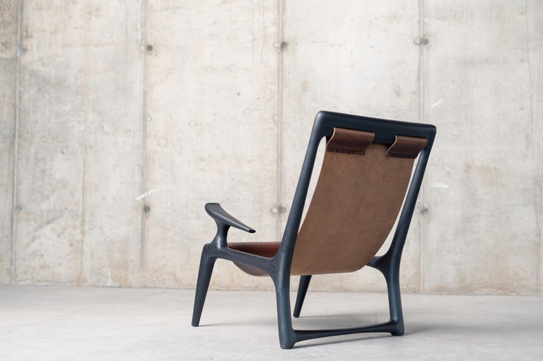 American Handcrafted Armchair in Charcoal Ashwood, Designed by Fernweh Woodworking For Sale
