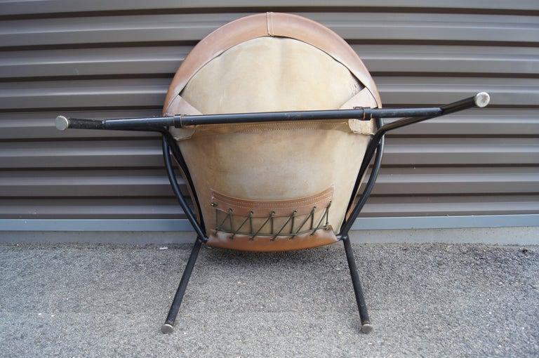 Leather Sling Chair, Model BO 360 by Erik Ole Jørgensen for Olaf Black For Sale